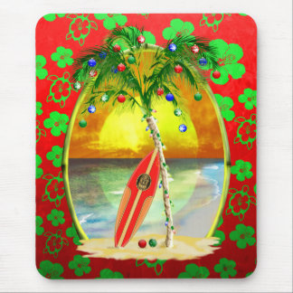 Christmas Beach Sunset Mouse Pad