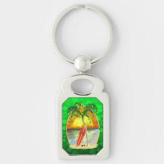 Christmas Beach Sunset Silver-Colored Rectangular Metal Keychain