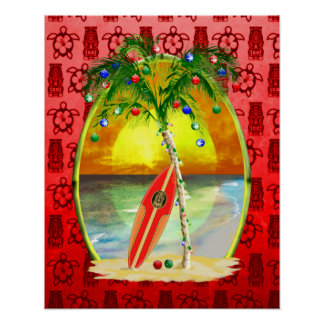 Christmas Beach Sunset Posters
