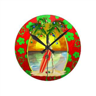 Christmas Beach Sunset Round Clock