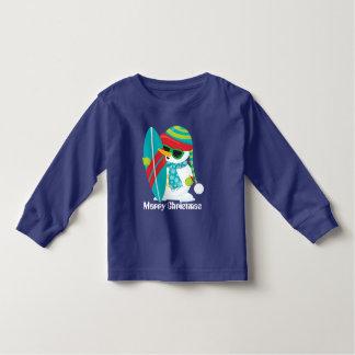 Christmas Beach surfing snowman toddler t-shirt