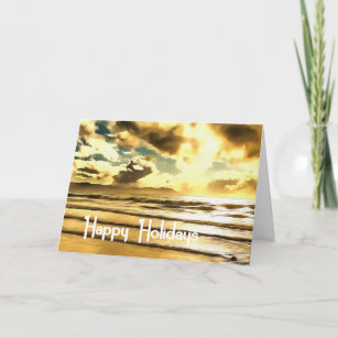 b55c8bf53b Christmas / Beach theme, Ocean, Waves, Sand, Cloud Holiday Card