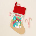 Christmas beachsurfing snowman add name stocking