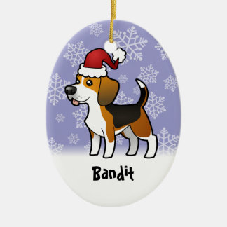 Christmas Beagle (add your pets name) Ceramic Ornament