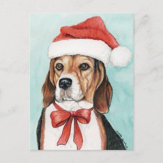 christmas beagle dog art postcad holiday postcard - Christmas Beagle