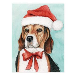 Christmas Beagle Dog Art Postcad Postcard