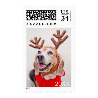 Christmas Beagle dog with festive reindeer ears Postage
