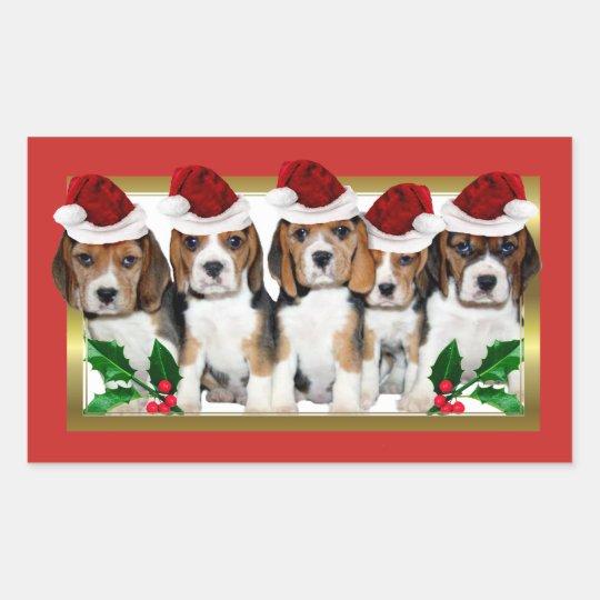 christmas beagle puppies rectangle stickers - Christmas Beagle