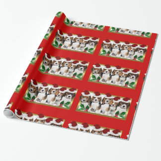 Christmas beagle  puppies red wrapping paper