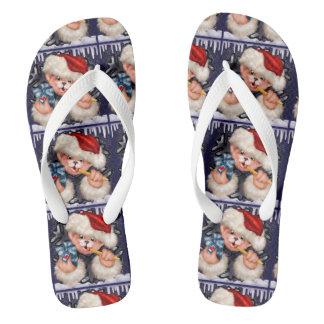 CHRISTMAS BEAR 2 Flip Flop  Adult, Wide Straps Flip Flops