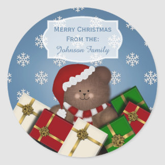 Christmas Bear And Snow Christmas Stickers Blue