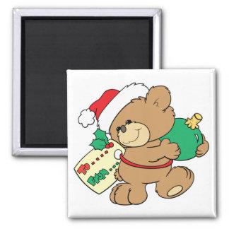 Christmas Bear as Present Fridge Magnet
