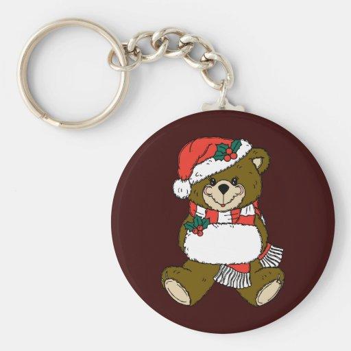 Christmas Bear Basic Round Button Keychain