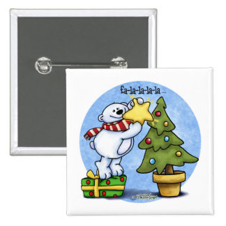 Christmas Bear full of Cheer Pinback Button