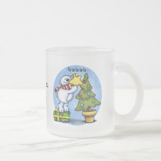 Christmas Bear full of Cheer Frosted Glass Coffee Mug