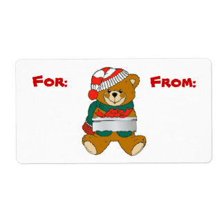 Christmas Bear Gift Tag Label