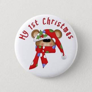 Christmas Bear Head 1st Christmas Button