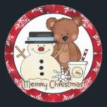 """Christmas Bear Holiday cartoon sticker<br><div class=""""desc"""">design by Cheryl Seslar at www.digiwebstudio.com originalartwork@delightful-doodles.com</div>"""
