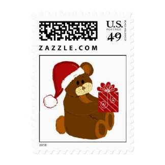 Christmas Bear in a Santa Hat Stamps