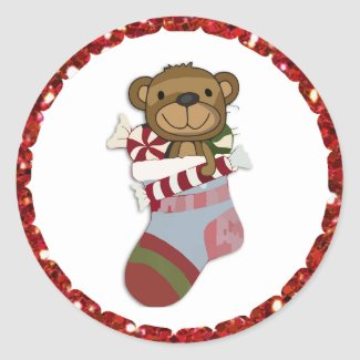 Christmas Bear in Stocking Stickers
