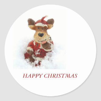 Christmas Bear In The Snow Classic Round Sticker