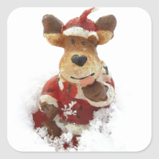 Christmas Bear In The Snow Square Sticker