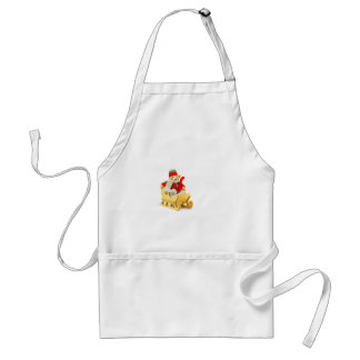 Christmas bear in wooden sleigh on white adult apron