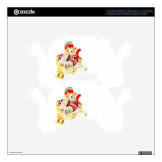 Christmas bear in wooden sleigh on white decal for PS3 controller