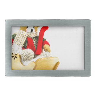 Christmas bear in wooden sleigh on white rectangular belt buckle