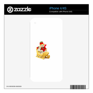 Christmas bear in wooden sleigh on white skin for the iPhone 4