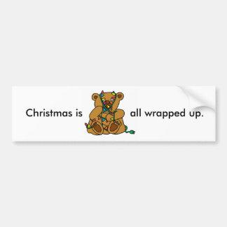 Christmas Bear Lights Bumper Sticker