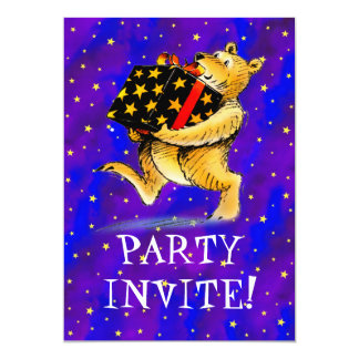 Christmas Bear Party 5x7 Paper Invitation Card