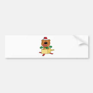 Christmas Bear Popping Out Of A Gift Box Bumper Sticker