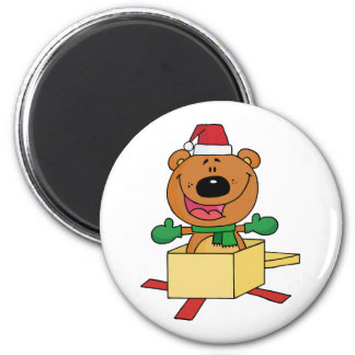 Christmas Bear Popping Out Of A Gift Box Magnet