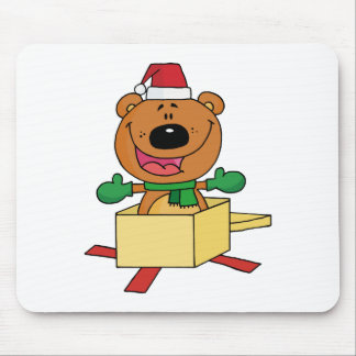 Christmas Bear Popping Out Of A Gift Box Mouse Pad