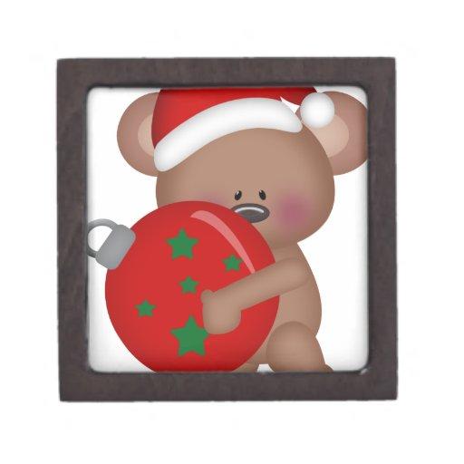 Christmas_Bear que sostiene la bola Caja De Recuerdo De Calidad