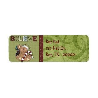 Christmas Bear Return Address Avery Label Return Address Label