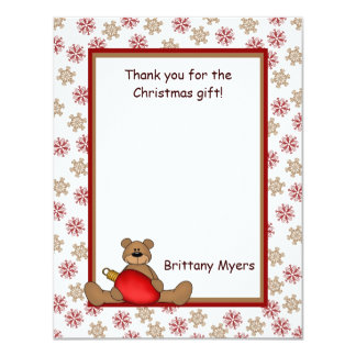 Christmas Bear & Snowflakes Thank You Notes Card