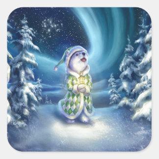 Christmas Bear Square Sticker