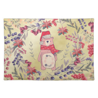 Christmas Bear Watercolor Berries Gold Cloth Placemat