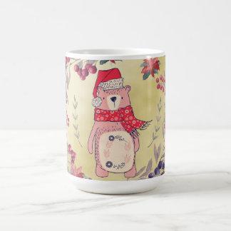 Christmas Bear Watercolor Berries Gold Coffee Mug