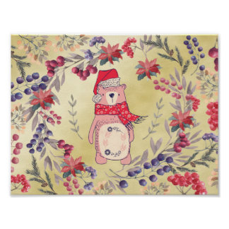 Christmas Bear Watercolor Berries Gold Poster