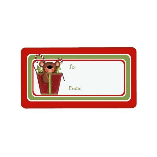 Christmas Bear Whimsical Gift Tag Address Label