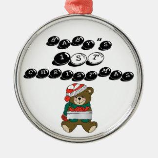 "Christmas_Bear_wih_present-lg, BABY""S, 1st, CHR... Round Metal Christmas Ornament"