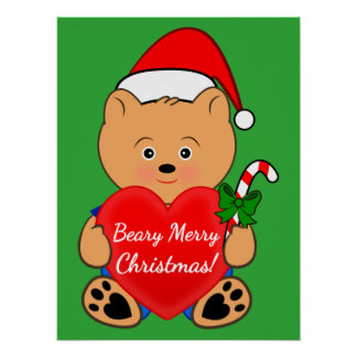 Christmas Bear with a Heart Poster