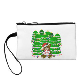 Christmas Bear with JOY Sign and Christmas Trees Coin Wallet