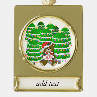Christmas Bear with JOY Sign and Christmas Trees Gold Plated Banner Ornament