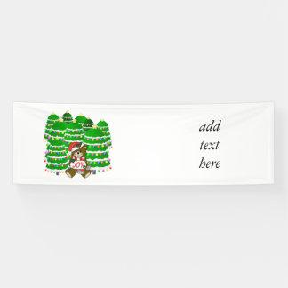 Christmas Bear with JOY Sign and ChristmasTrees Banner