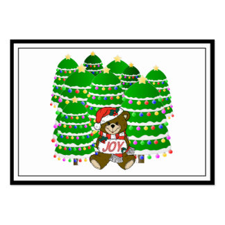 Christmas Bear with JOY Sign and ChristmasTrees Business Cards