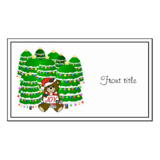 Christmas Bear with JOY Sign and ChristmasTrees Business Card Template